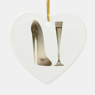 Sepia Stiletto Shoe and Celebration Champagne Ceramic Heart Decoration