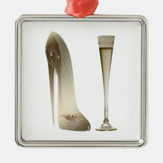 Sepia Stiletto Shoe and Celebration Champagne Christmas Ornament