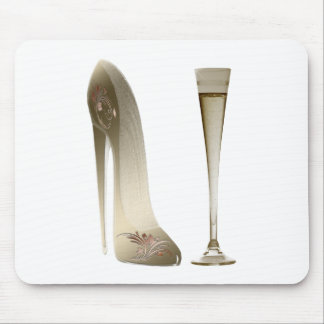 Sepia Stiletto Shoe and Celebration Champagne Mouse Mat