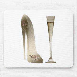 Sepia Stiletto Shoe and Celebration Champagne Mouse Pad