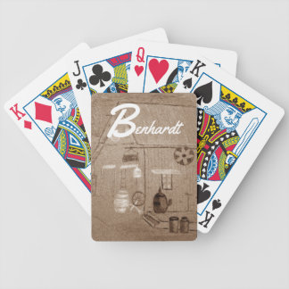 Sepia Storefront Drawing Bicycle Playing Cards