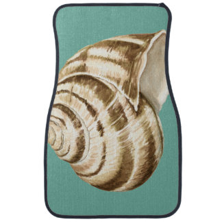 Sepia Striped Shell on Teal Floor Mat