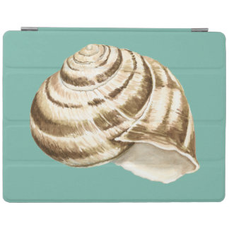 Sepia Striped Shell on Teal iPad Cover