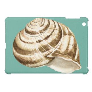 Sepia Striped Shell on Teal iPad Mini Covers