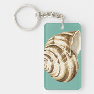 Sepia Striped Shell on Teal Key Ring