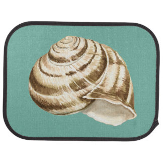 Sepia Striped Shell on Teal Car Mat