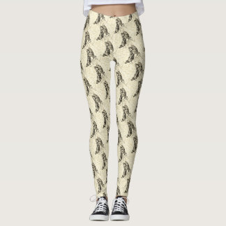 Sepia Swallowtails Patterned Leggings