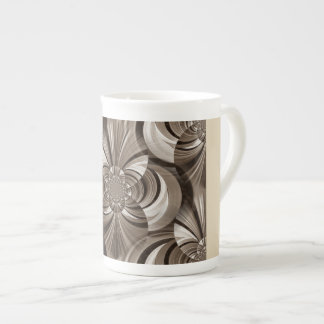 Sepia swirls bone china mug