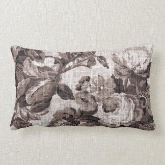 Sepia Tone Brown Floral Toile Fabric No.5 Lumbar Cushion