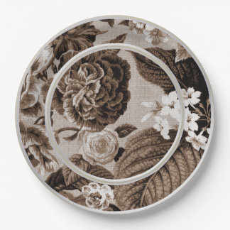 Sepia Tone Brown Floral Toile No.1 9 Inch Paper Plate