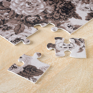Sepia Tone Brown Floral Toile No.3 Jigsaw Puzzle