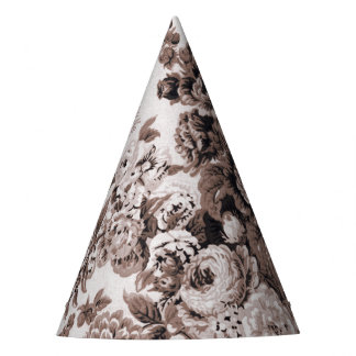 Sepia Tone Brown Floral Toile No.3 Party Hat