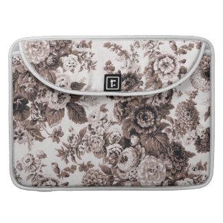 Sepia Tone Brown Vintage Floral Toile No.3 MacBook Pro Sleeve