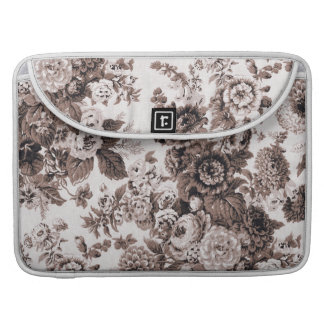Sepia Tone Brown Vintage Floral Toile No.3 Sleeve For MacBook Pro