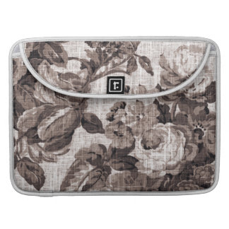Sepia Tone Brown Vintage Floral Toile No.5 Sleeve For MacBooks