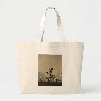 Sepia Tone Eagle Weather vane Tote Bags