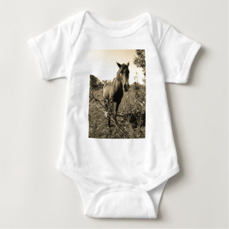 Sepia Tone  Photo of  brown Horse with flowers T Shirts