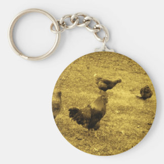 Sepia Tone Rooster in the Yard Key Chain