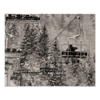 Sepia tone ski print, Above the trees Poster