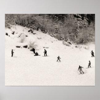 Sepia tone ski print, Fun on the piste Poster
