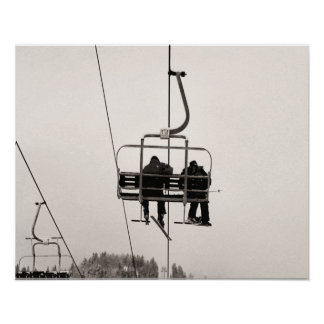 Sepia tone ski print, Getting to the top Poster