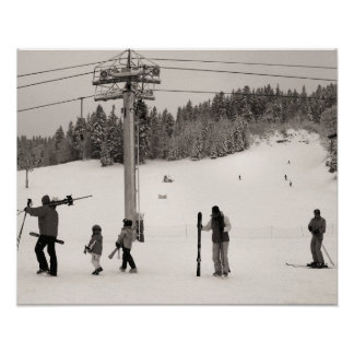 Sepia tone ski print,We are going skiing Poster