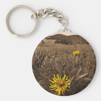 Sepia tone Yellow wildflowers Key Chains