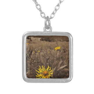 Sepia tone Yellow wildflowers Personalized Necklace