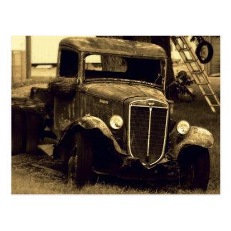 Sepia Toned Antique Vintage Truck Postcard