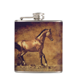Sepia Toned Rustic Horse Art Hip Flask