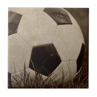 Sepia Toned Soccer Ball Small Square Tile