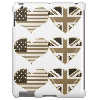 Sepia USA and UK Flag Hearts iPad case