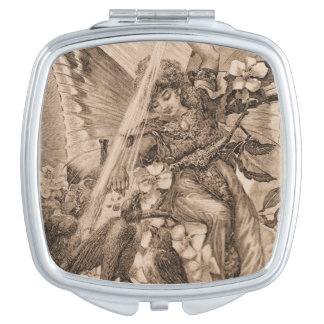 Sepia Vintage Angel Flowers and Birds Travel Mirror