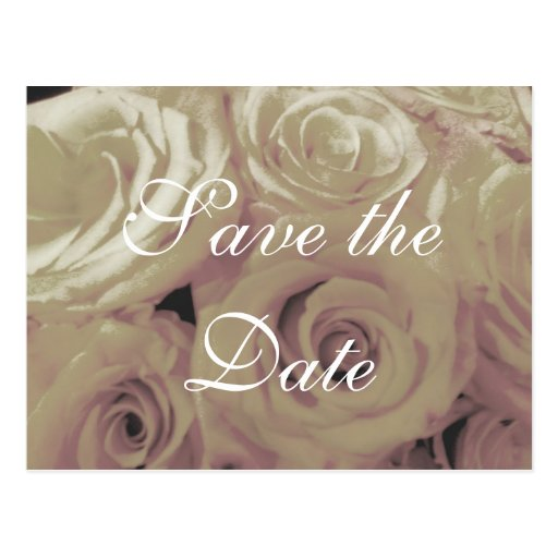 Sepia Vintage-look Roses Save-the-date postcard