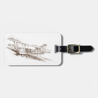 sepia vintage plane luggage tag