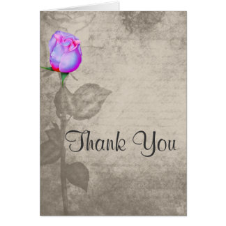 Sepia Vintage Spot Color Rose Wedding Thank You Greeting Card
