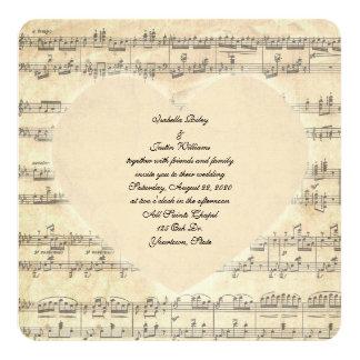 sepia wedding heart on music 13 cm x 13 cm square invitation card