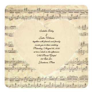 sepia wedding heart on music card