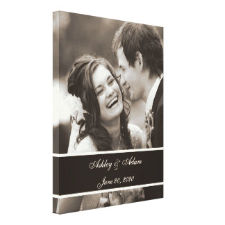 Sepia Wedding Photo Personalized Canvas Print
