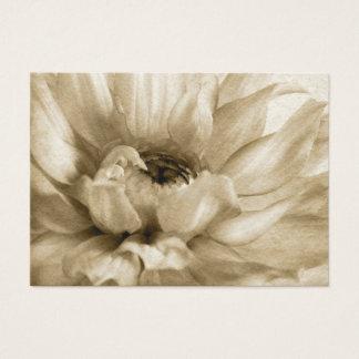Sepia White & Cream Dahlia Background Customized Business Card