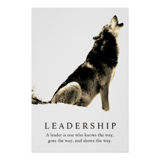 Sepia White Inspirational Leadership Wolf Poster