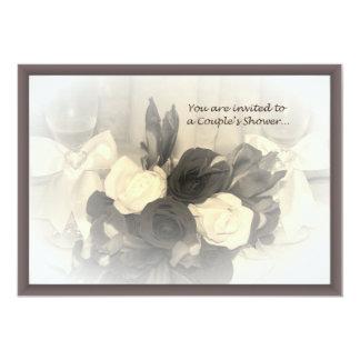 Sepia Winglasses and Flowers Couple's Invitation