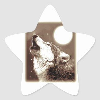Sepia Wolf Moon Stickers
