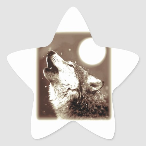 Sepia Wolf & Moon Stickers