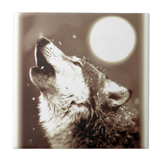 Sepia Wolf & Moon Tile