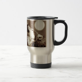Sepia Wolf & Moon Travel Mug