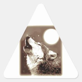 Sepia Wolf & Moon Triangle Sticker