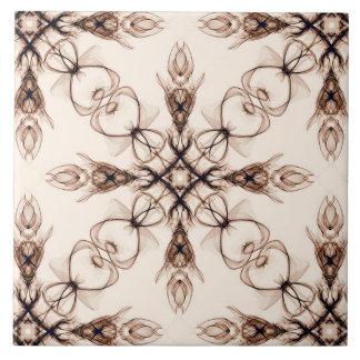 Sepia Woodland Brown Fractal Art Tile