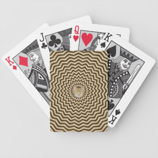 Sepia Zigzag Ripples + Cat Bicycle Playing Cards