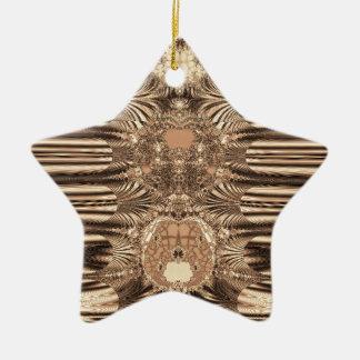 SepiaGold Fractal Ceramic Star Decoration